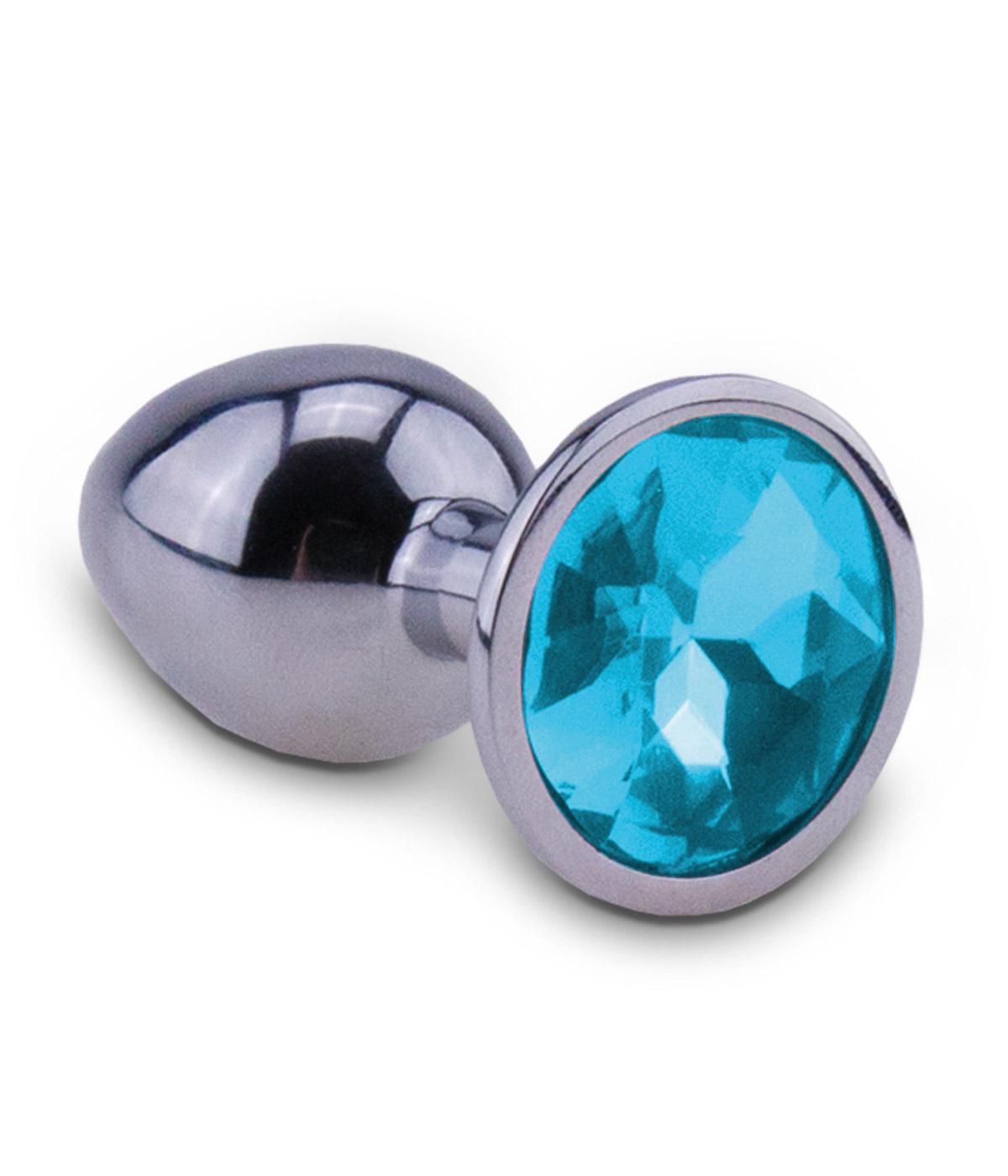 Kovový anální kolík s modrým diamantem