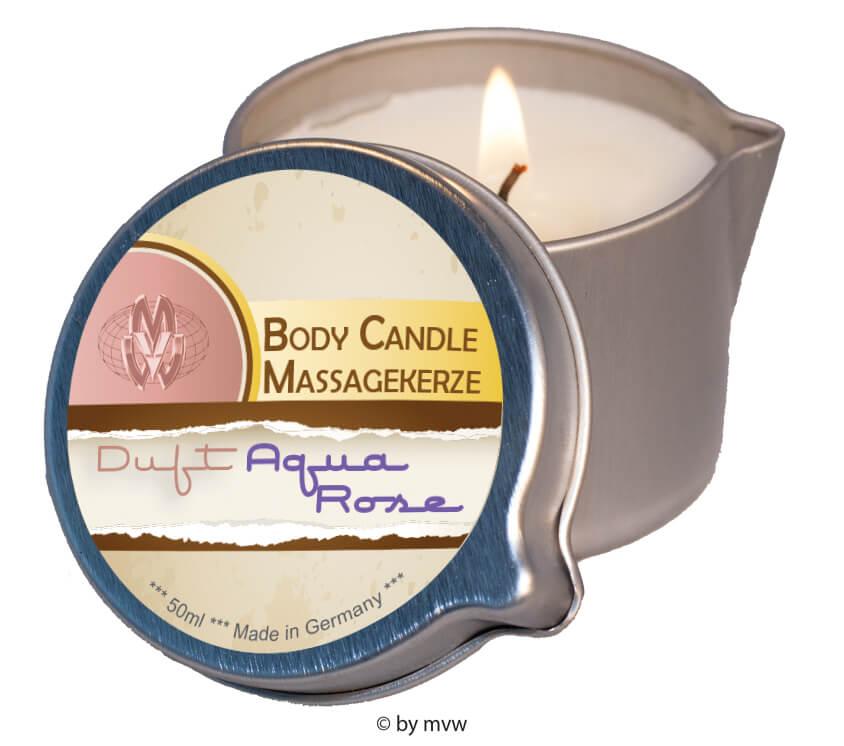 Masážní svíčka s erotickým olejovým voskem - 50ml - aqua rose