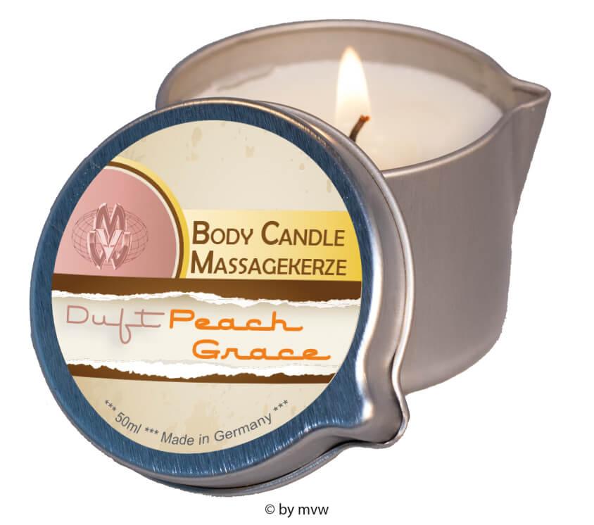 Masážní svíčka s erotickým olejovým voskem - 50ml - Peach grace