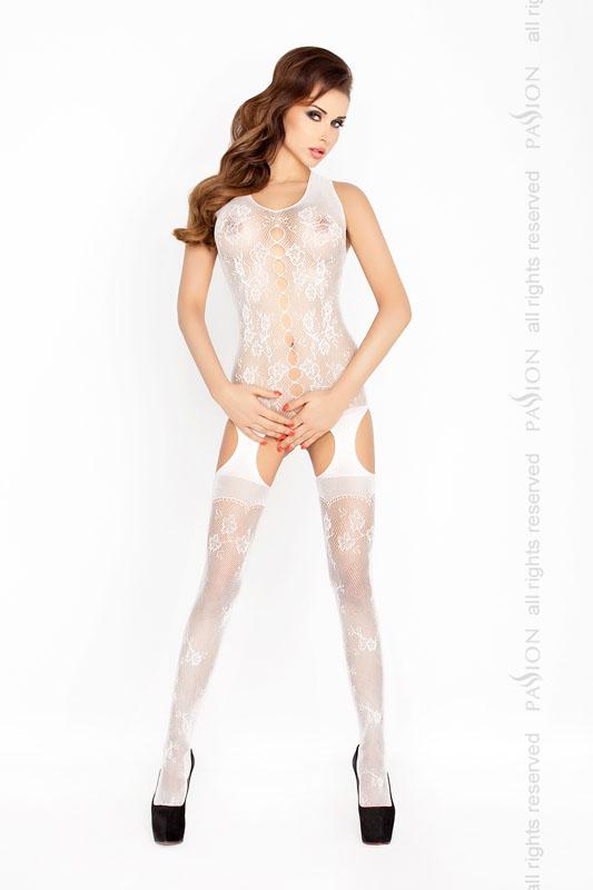 Bílý catsuit s luxusní krajkou - BS012-univerzální