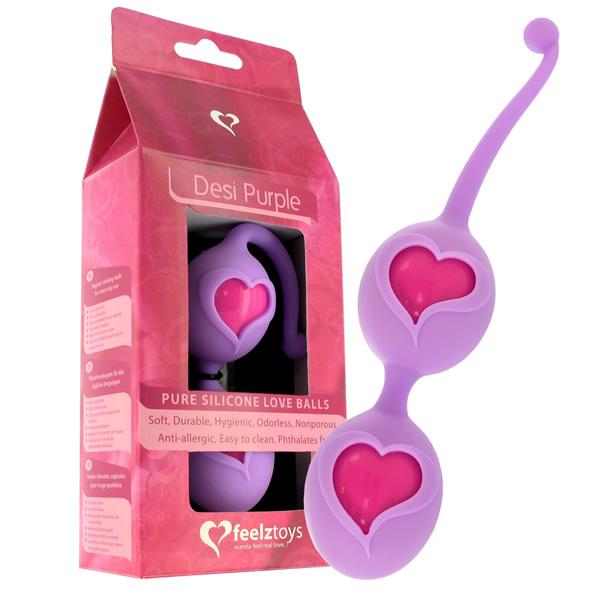 Venušiny kuličky se srdíčky - Feelz Toys - Desi Love Balls Purple