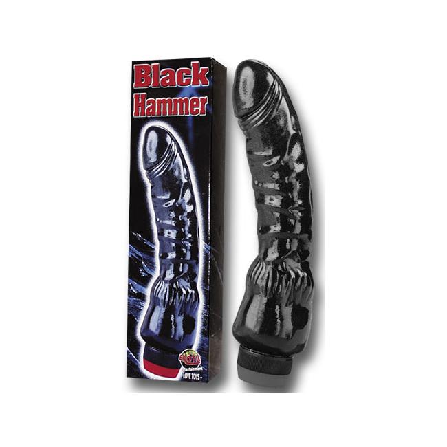 Černý gelový vibrátor - BLACK HAMMER