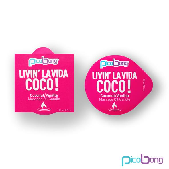Masážní olejová svíčka - PicoBong Kokos & Vanilka 15 ml