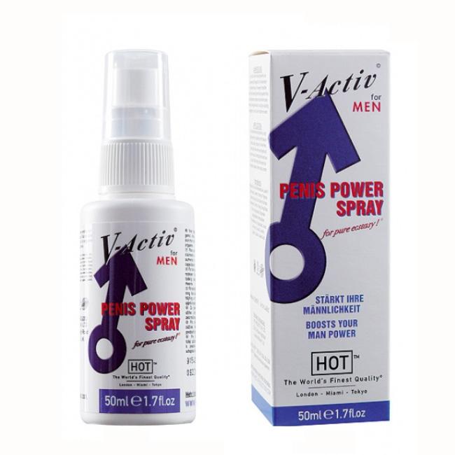 HOT V-Active - Penis power sprej - 50ml velké balení pro mužský orgasmus